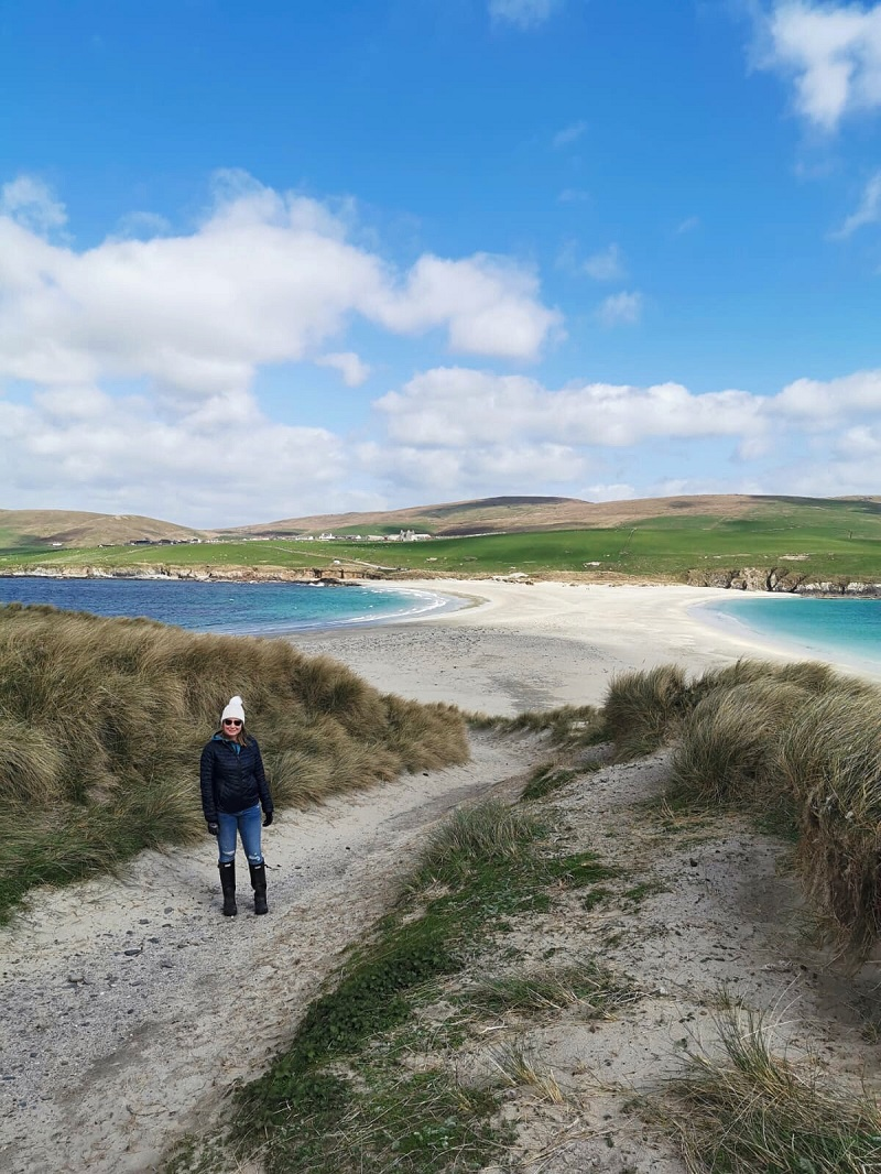 Looking back on the sand tombolo from St Ninian's Isle