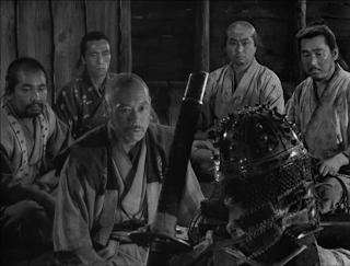 Takashi Shimura in Seven Samurai, aka Shichinin no samurai, Samurai meet to devise a strategy, directed by Akira Kurosawa