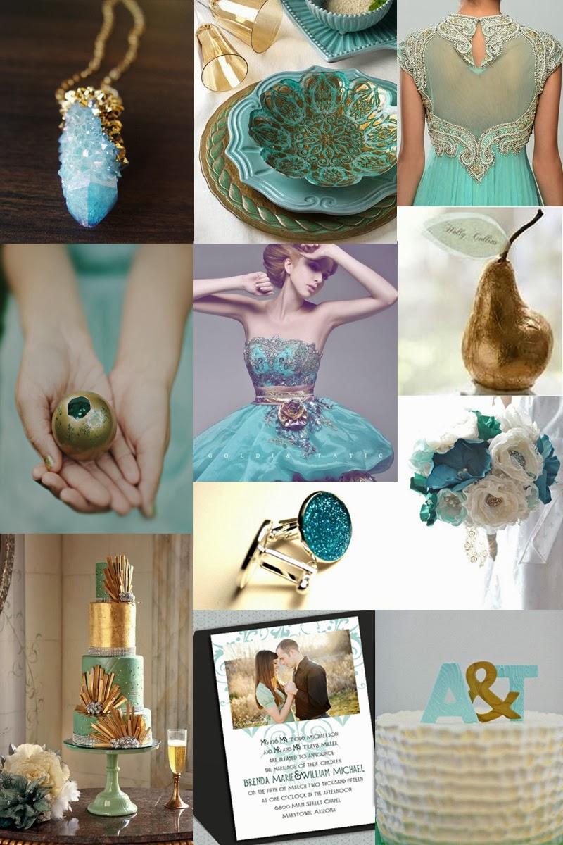 I Am An Artist.: Teal And Gold Wedding Inspiration Board