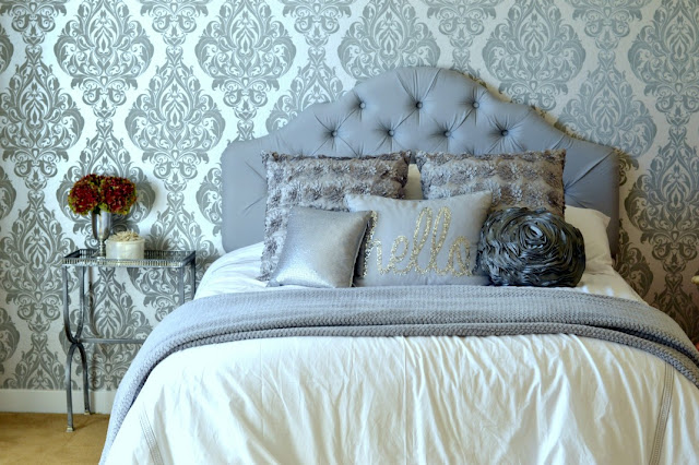 teenage girls glam bedroom makeover, silver and white bedroom