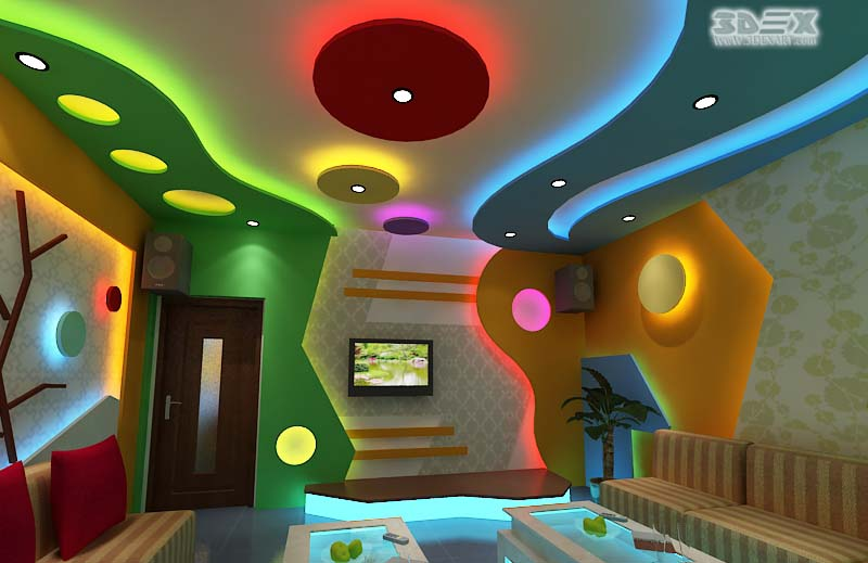 Plaster of Paris ceiling design with false ceiling LED indirect lighting for living rooms