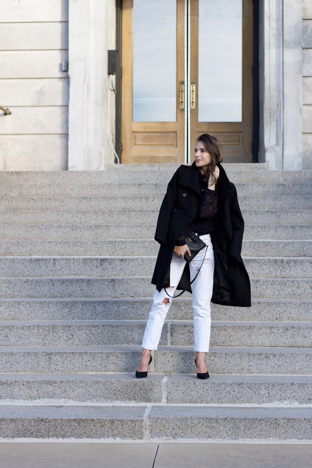 black and white womens winter look