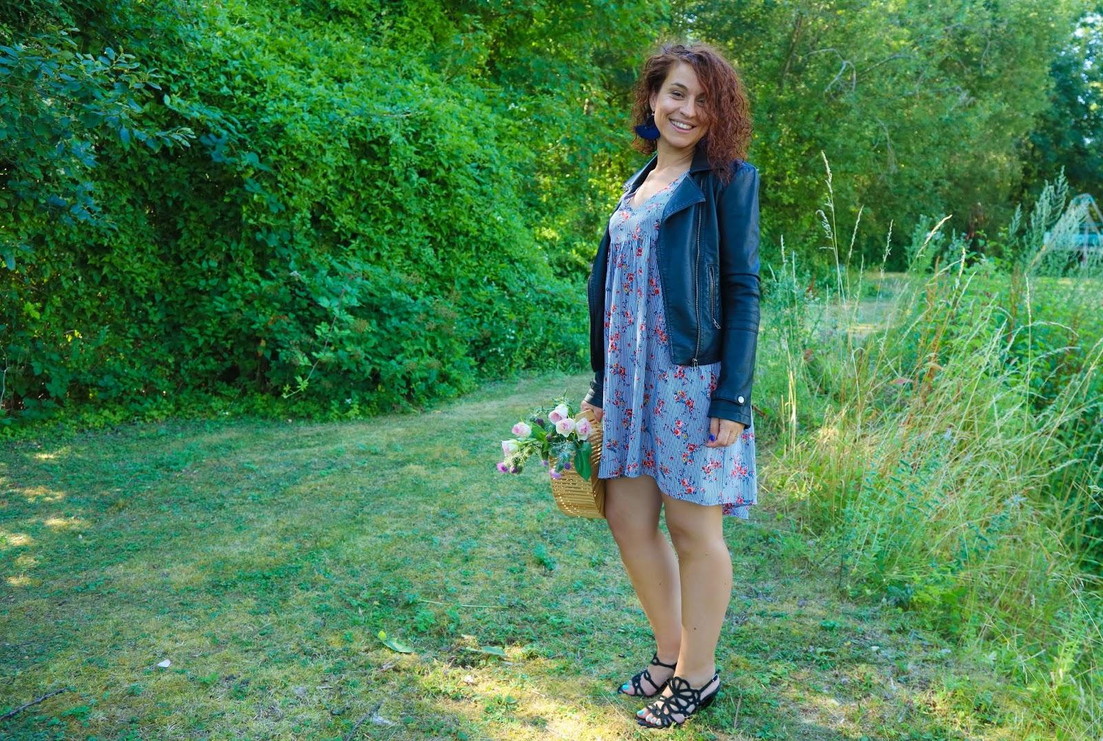 look-robe-a-fleurs-perfecto-panier-bambou