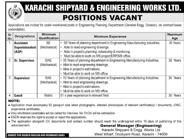 #Jobs - #Career_Opportunities - #Job Opportunities at Karachi Shipyard and Engineering Works Ltd  – For application details please visit the link