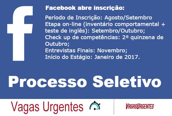 Vagas Estágio no Facebook - São Paulo - SP - Vagas Urgentes