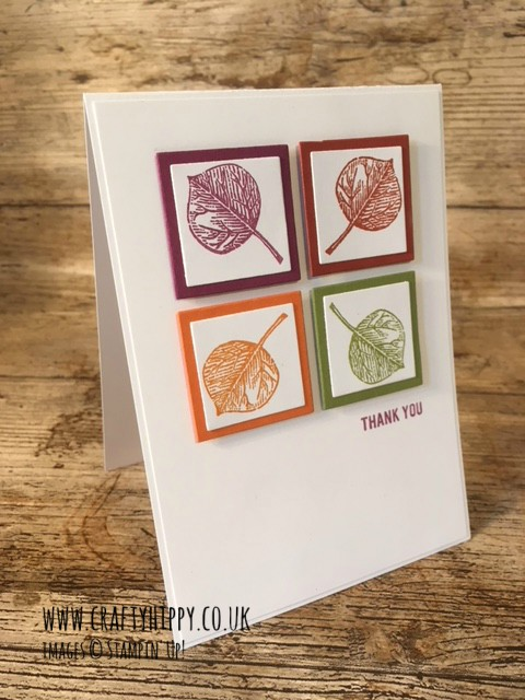 Card made with Vintage Leaves by Stampin' Up! showing four leaves in boxes in Rich Razzleberry, Cajun Craze, Old Olive and Pumpkin Pie colours.