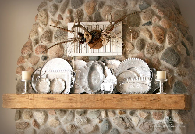 Old Wood Mantel With Hammered Aluminum Display, Bliss-Ranch.com