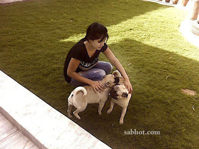 Hot Miss pooja unseen pictures at her house playing with her dogs