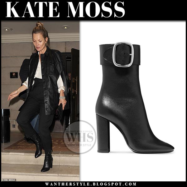 ef012212a24 Kate Moss wearing black leather cape jacket, black pants and black leather  saint laurent joplin