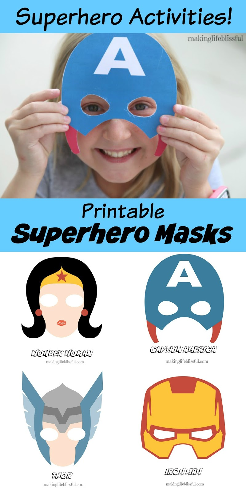 image about Printable Superhero Masks named No cost Superhero Bingo Printable and Superhero Printable Pack