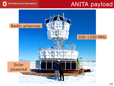 Picture of the ANITA payload in Antarctica with myself and Linda standing in front. I showed this during my defense exam as part of introducing my experiment
