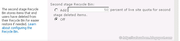 sharepoint 2010 recycle bin quota
