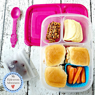 Lunch box fun with ham and cheese sliders. So yummy. In our @easylunchboxes #lunchboxideas