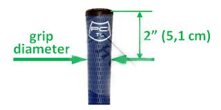 đường kính tay nắm được đo ở điểm cách nắp tay nắm 2 inch