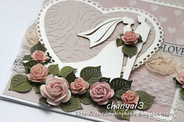 detale na kartce -róże, tekturka, embossing