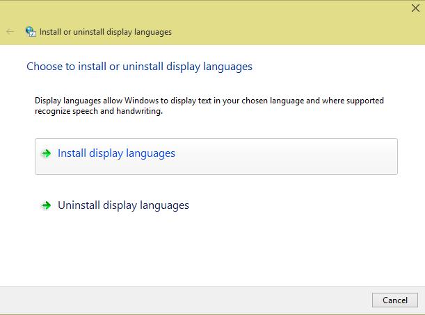select windows 10 language pack