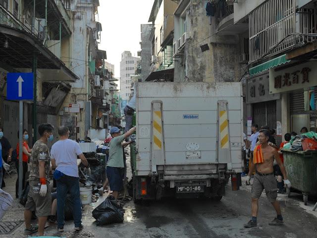 Cleanup from Typhoon Hato on Rua das Estalagens