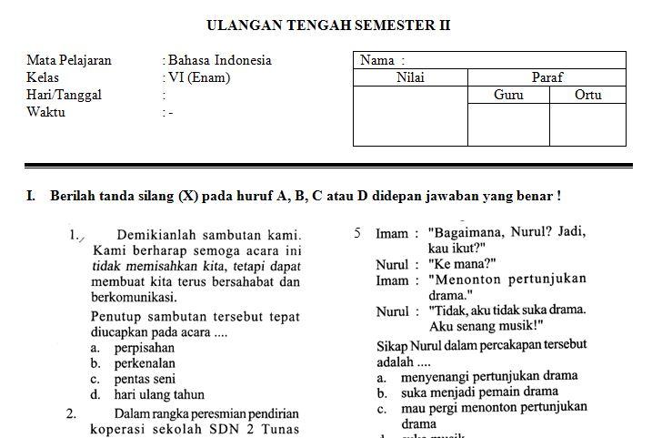 Download Contoh Soal UTS SD/MI Kelas VI Semester 2 Mata Pelajaran Bahasa Indonesia Tahun Ajaran 2016-2017 Format Microsoft Word