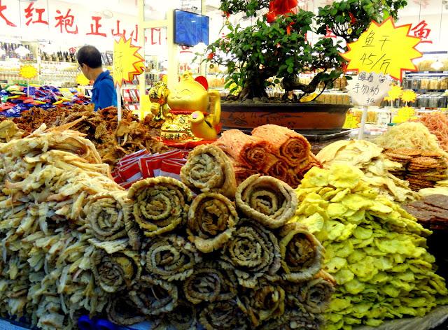 Dried squid and fish Zhongshan Lu Pedestrian Street in Xiamen, China
