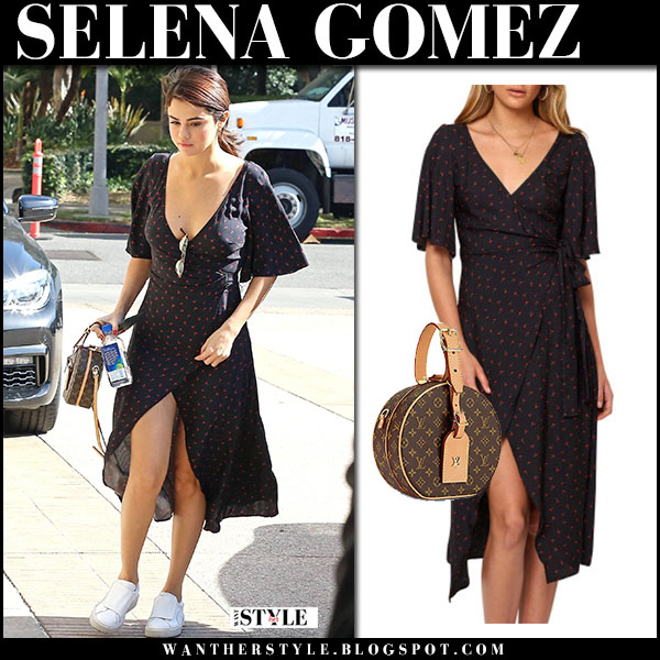 Selena Gomez in navy printed wrap dress bec and bridge and white sneakers puma street fashion february 1