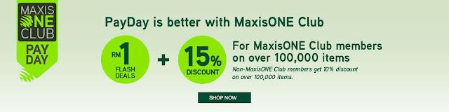 Lazada Malaysia Maxis One Club Member Flash Deal Discount