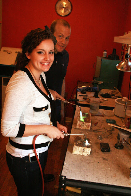 Kristen and Kevin making each others wedding bands at Harold Studio