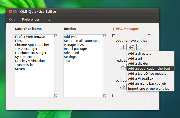 QLE Unity Quicklist Editor 2 0 Released ~ Web Upd8: Ubuntu / Linux