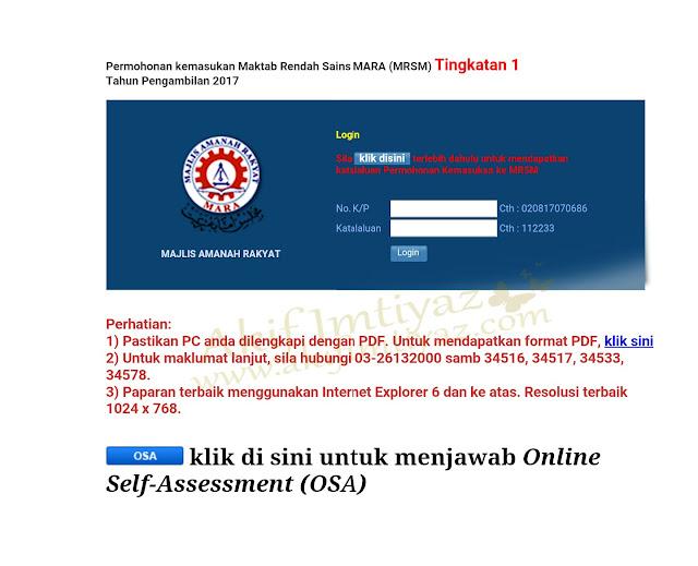 Borang Permohonan Kemasukan Maktab Rendah Sains Mara (MRSM) Tingkatan 1 Tahun Pengambilan 2017