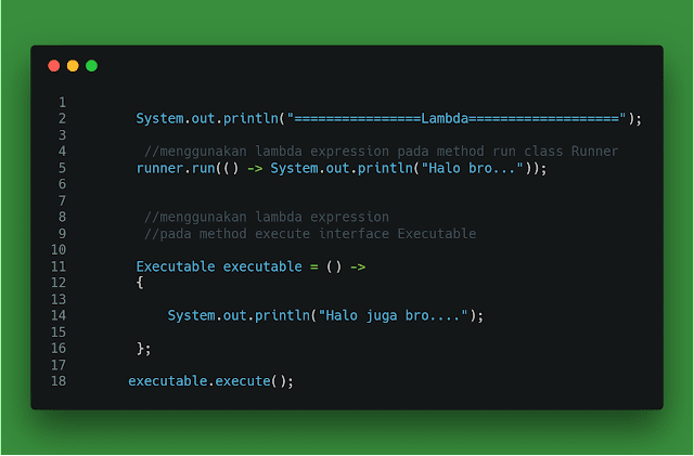 contoh baris code syntax penggunaan lambda expression functional interface di program java