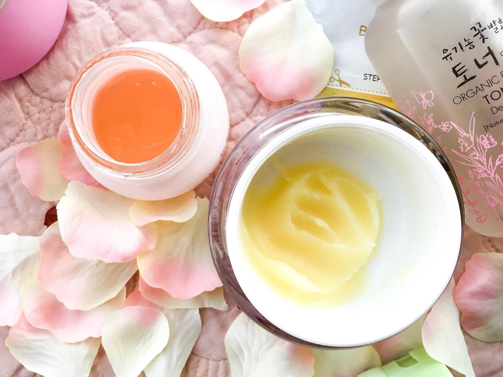 blossom jeju pink camellia soombi blooming vitamin sleeping mask, emma hardie moringa cleansing balm