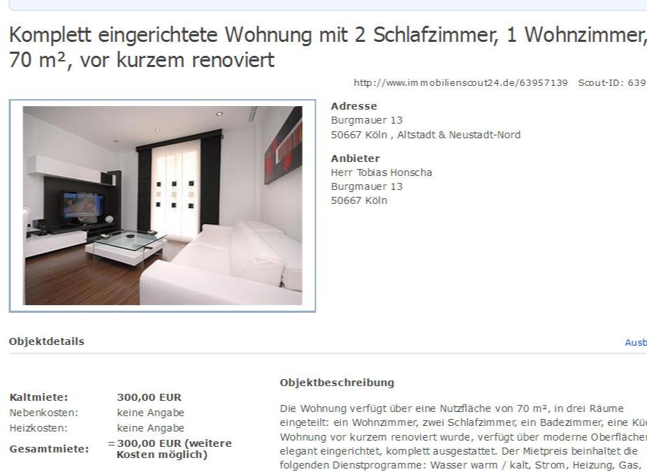 Komplett Eingerichtete Wohnung Mit 2 Schlafzimmer 1 Wohnzimmer 70 M Vor Kurzem Renoviert Burgmauer 13 50667 Kln Altstadt Neustadt Nord Anbieter
