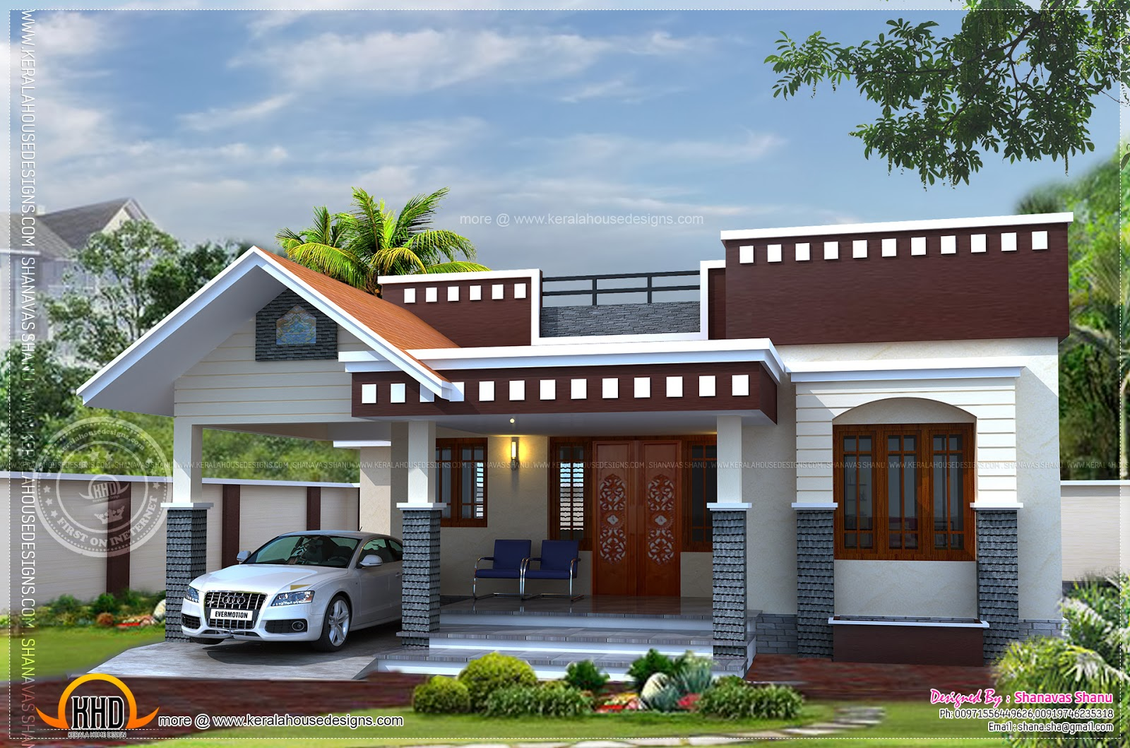 Home plan of small house kerala home design and floor plans for One floor farmhouse plans