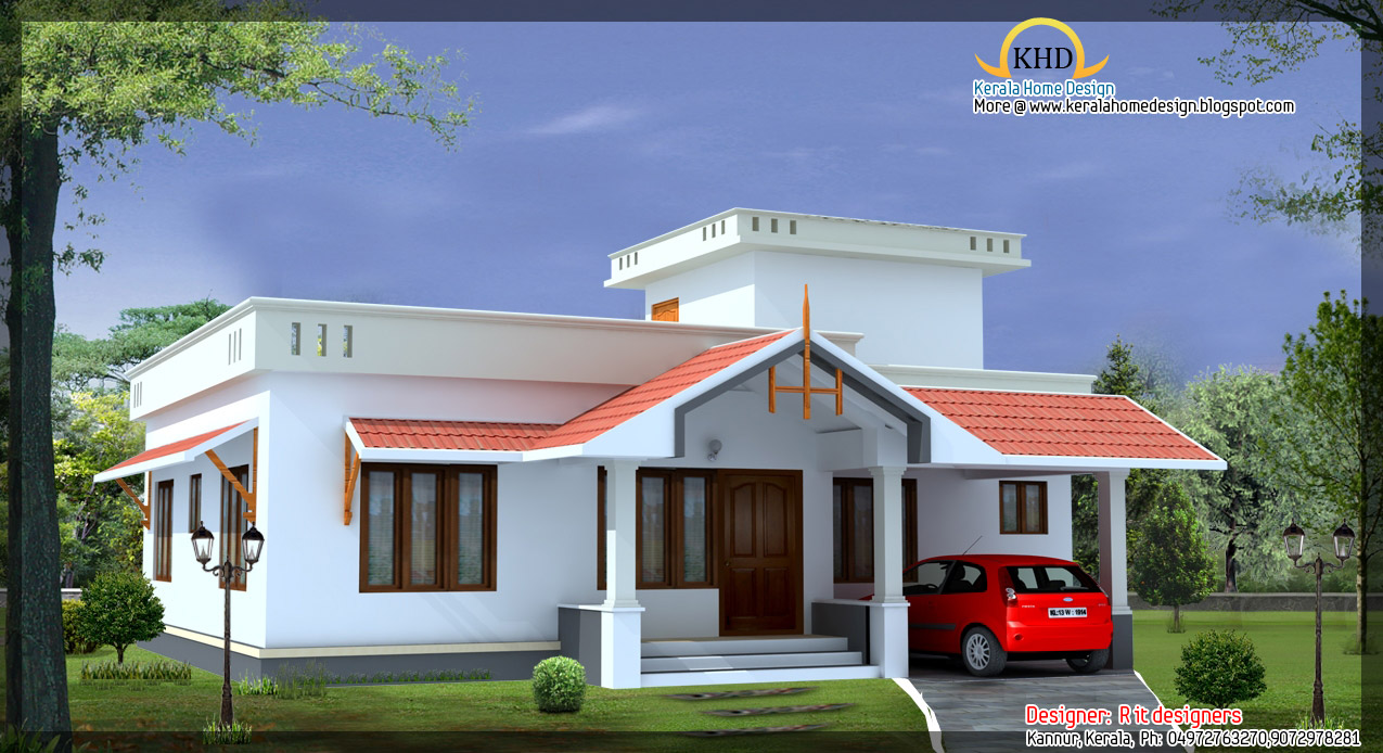4 beautiful house elevations kerala home design and for Single floor home design