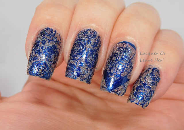 MoYou London Gothic 07 & 09 over Sassy Pants Polish Celebrate, stamped with It Girl Nail Art Sapphire