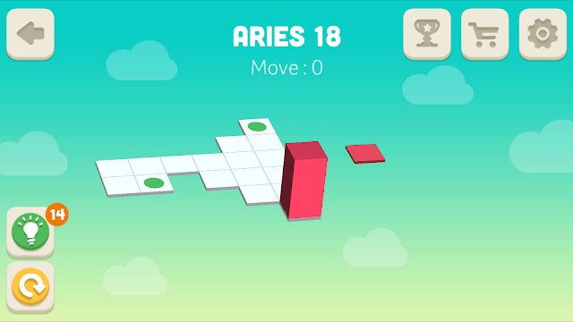 Bloxorz Aries Level 18 step by step 3 stars Walkthrough, Cheats, Solution for android, iphone, ipad and ipod