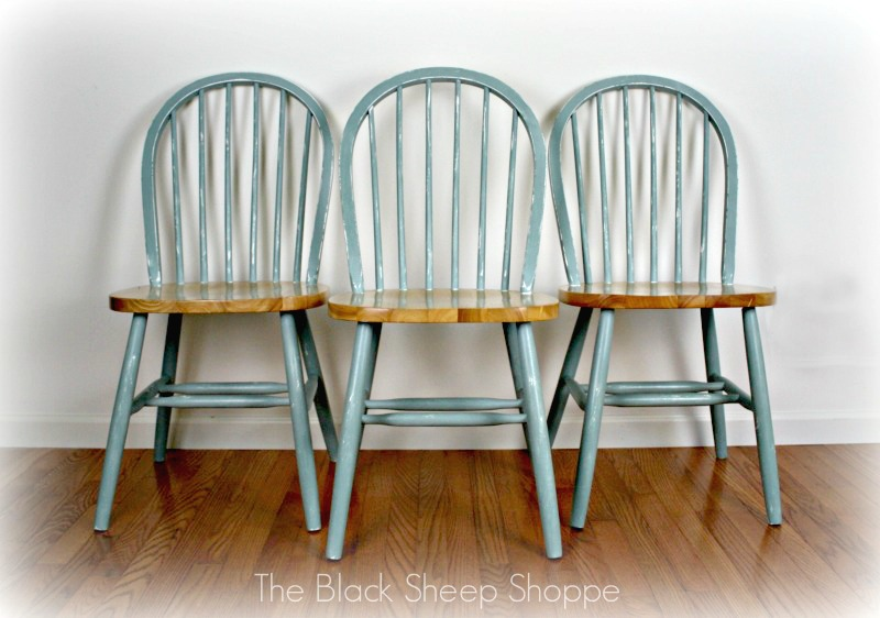 Three chairs painted in coastal cottage style