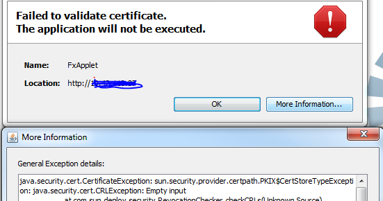 Infra World: java failed to validate certificate. the application ...