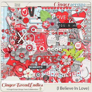 Guest CT February Annemarie for GingerScraps GingerBread Ladies Collab I Believe in Love FWP and Free Template