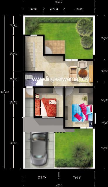 Denah rumah dua lantai di atas tanah 105m2 3 kamar tidur