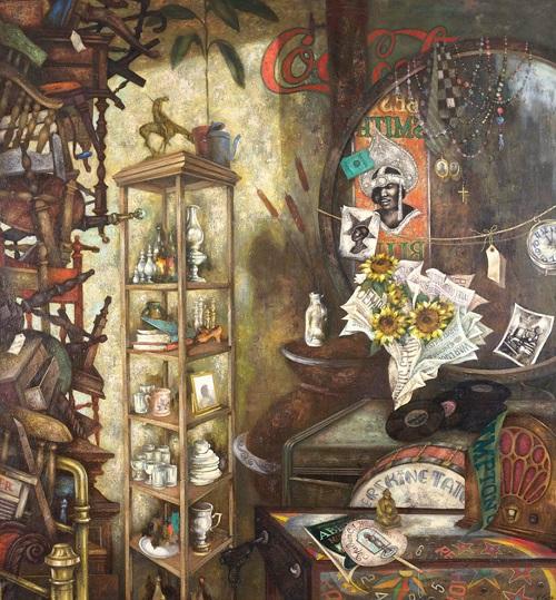 "Eldzier Cortor, ""Still Life: Past Revisited"", 1973."