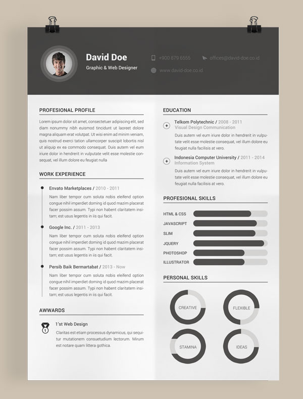 download 10 template resume  cv  terbaik dalam format word