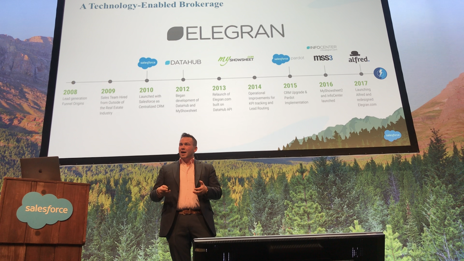 Tigh Loughhead presenting tech enabled real estate brokerage Elegran at Dreamforce: Leverage Lightning to Drive User Adoption