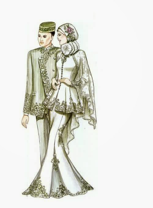 model baju muslim pengantin kombinasi kebaya dan gaun