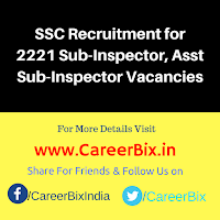 SSC Recruitment for 2221 Sub-Inspector, Asst Sub-Inspector Vacancies