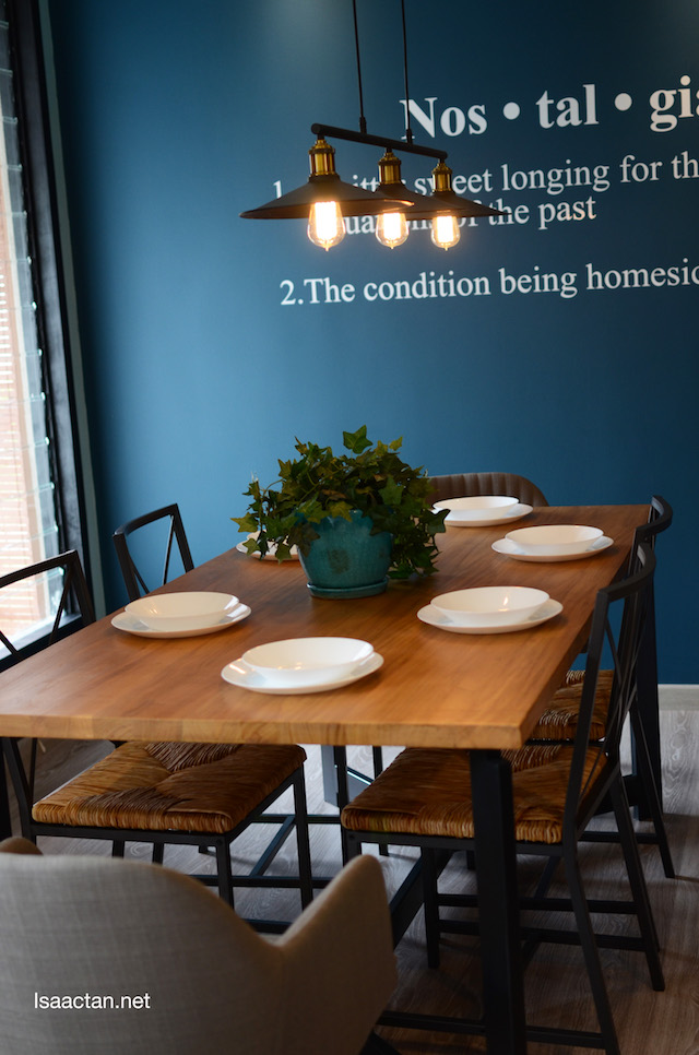 Wooden dining table with blue hues