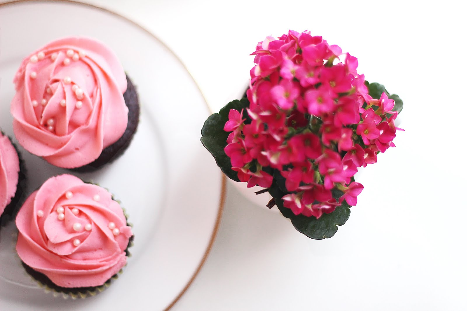 chocolate cupcakes with pink icing and pearls