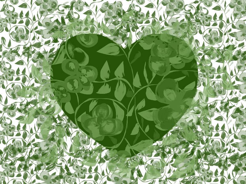Corazón de color verde hoja | Corazones inventados