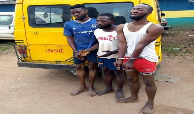 Three men were arrested for vandalising MTN mast in Atan Ota, Ogun State