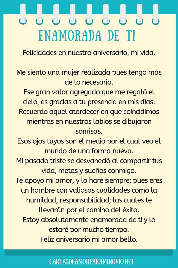 Carta de amor para mi novio en nuestro aniversario - Enamorada de ti