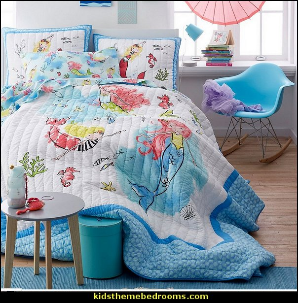 Mermaid Swim Quilt  underwater bedroom ideas - under the sea theme bedrooms - mermaid theme bedrooms - sea life bedrooms - Little mermaid princess Ariel - Sponge Bob theme bedrooms - mermaid bedding - Disney's little mermaid - clamshell bed -  mermaid murals - mermaid wall decal stickers -